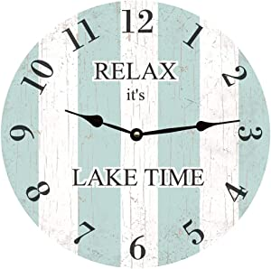 Personalized Striped Wall Clock No Ticking Round Wood Clock Light Blue Vintage Home Decor Living Room Bedroom Office School Baby Room Clock