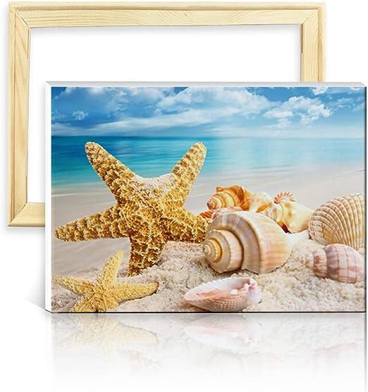 ufengke Kit Pintura de Diamantes 5D Playa Mar Punto de Cruz ...