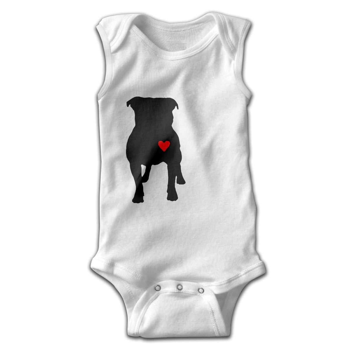 MMSSsJQ6 Pitbull Heart Baby Newborn Infant Creeper Sleeveless Romper Bodysuit Rompers Jumpsuit