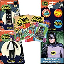 PopShoppes The Penguin (Batman Classic TV Series) PopBox Deluxe Set (Bendable Figure, Playing Cards, Bendable Keychain, Magnet and Button Set) Cool Value!