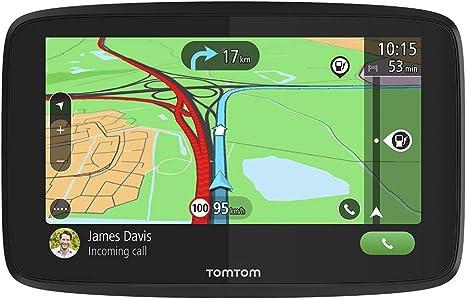 TomTom GPS para coche GO Essential, 5 pulgadas, con tráfico y prueba de radares gracias a TomTom Traffic, mapas de la UE, actualizaciones a través de WiFi, llamadas manos libres, soporte Click-Drive: