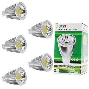 5 x MR16-Bombilla LED 7 w, blanco frío alta iluminación Lámpara LED COB