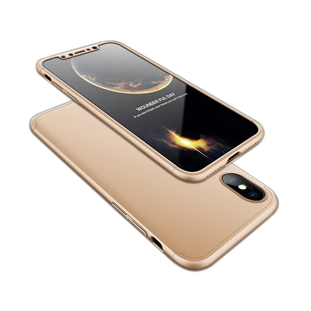 ANERNAI iPhone X Case 360 Degree Full Body Protection 3 in 1 Slim Case,with Tempered Glass Screen Protector for iPhone X (Gold)