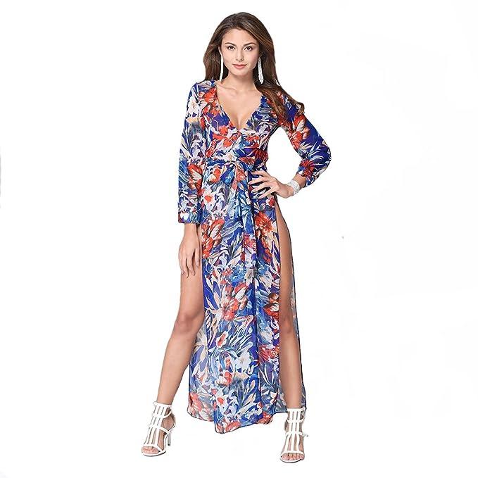 MAX Mall Mujeres Maxi Fiesta Vestido de Gasa Abertura Vestido de Playa Manga Larga (S