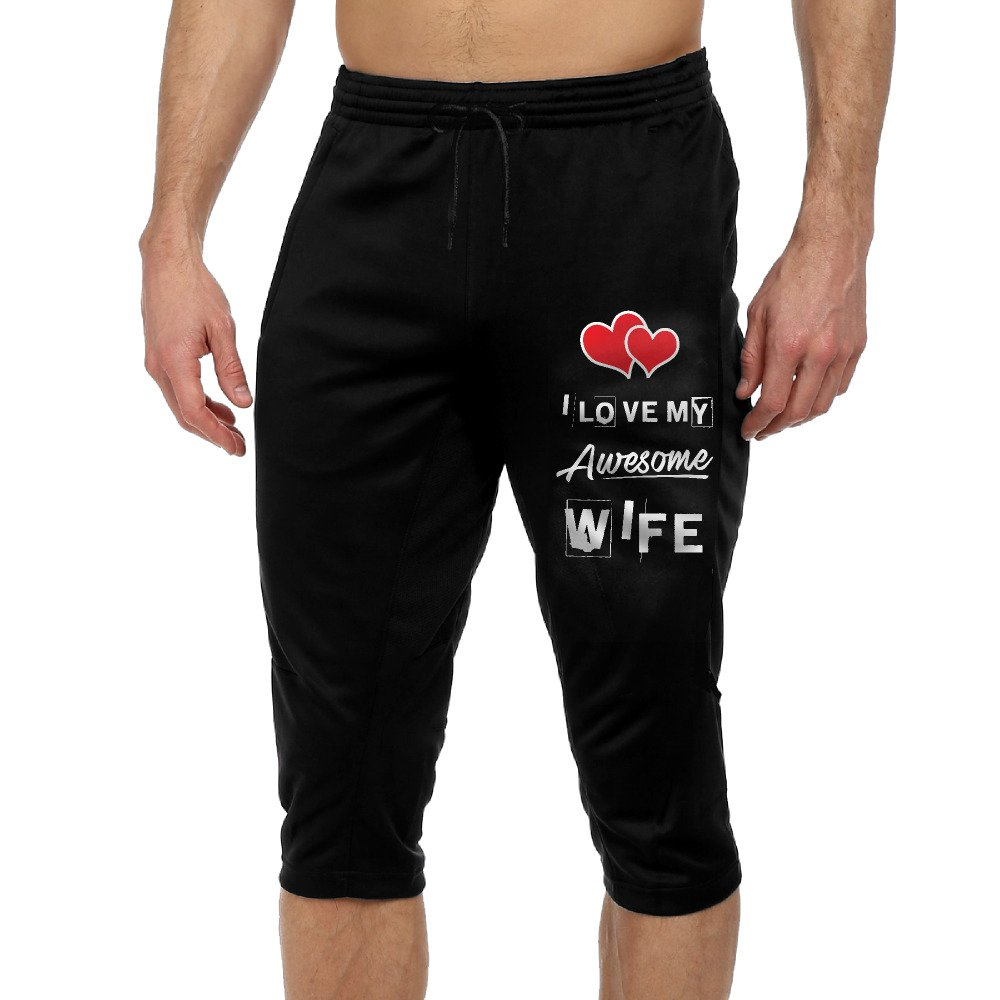 GYang I Love My Awsome WifeMens' Seven-Point Pants Casual Funny 3D Printing Loose Shorts Leggings Trousers Joggers