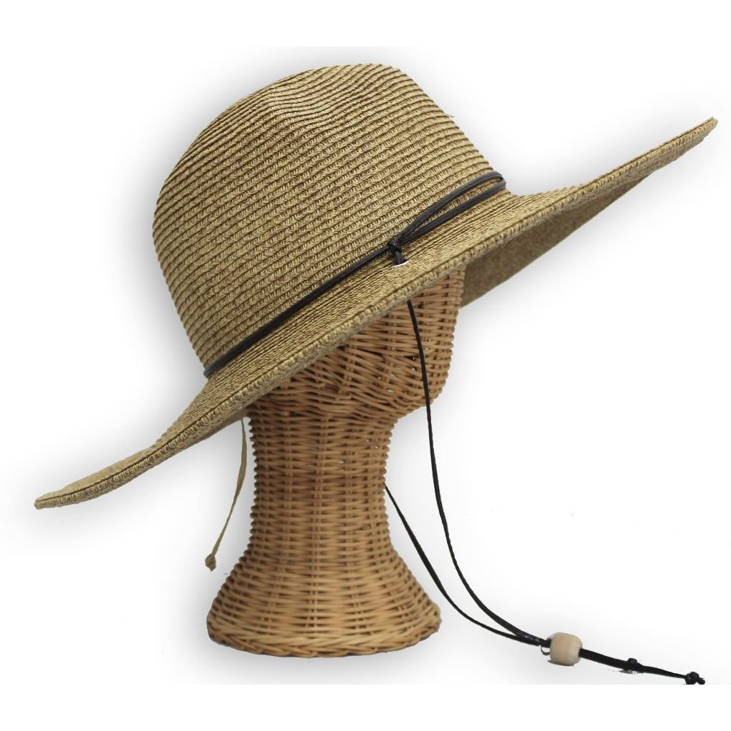 El Ranchero Extra Large Brim Straw Sun Hat for Men & Women with Chin Strap Fashionable & Perfect for Gardening Coffee (2XLarge)