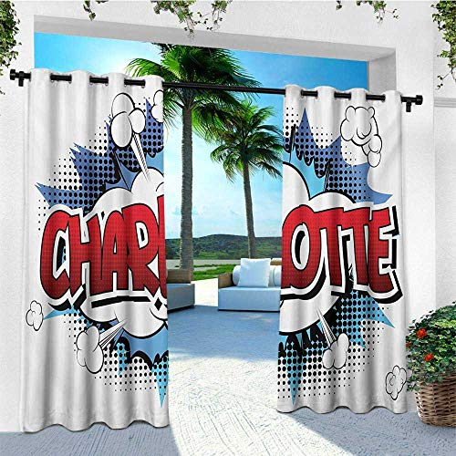 Charlotte, Outdoor Curtain Extra Wide, Female Name with French Origins in Retro Cartoon Design Explosion Effect and Dots, Outdoor Curtain panels for Patio Waterproof W120 x L96 Inch Multicolor ()