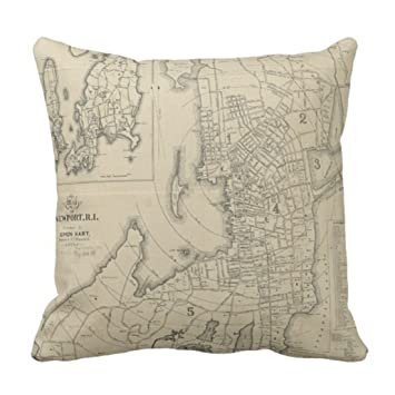 Amazon Throw Pillow Cover Vintage Map Of Newport Rhode Island Beauteous Newport Decorative Pillows