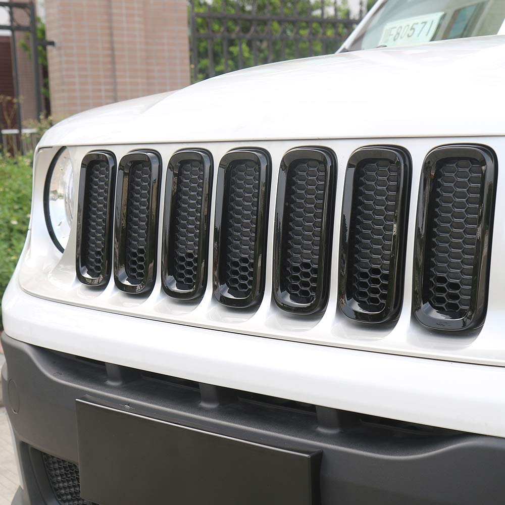 Black JeCar 7pcs Front Grille Trim Inserts Grill Cover For Jeep Renegade 2015 2016 2017