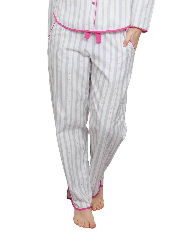 TALLA 44. Cyberjammies 3806 Women's Erica White Striped Pajama Pyjama Pant