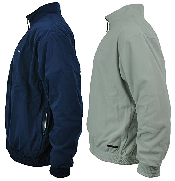 3a0547b13a03 Nike Golf Reversible Jacket Therma Fit Men s Windbreaker Winter Fleec Jacket  Size L Navy White  Amazon.co.uk  Clothing