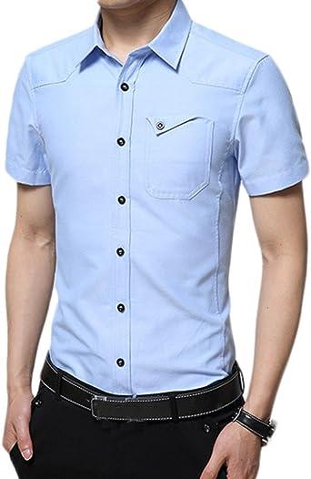 Idopy Camisas Formales Clásicas para Hombre de Manga Corta, Uniformes, de Estilo Militar: Amazon.es: Ropa y accesorios