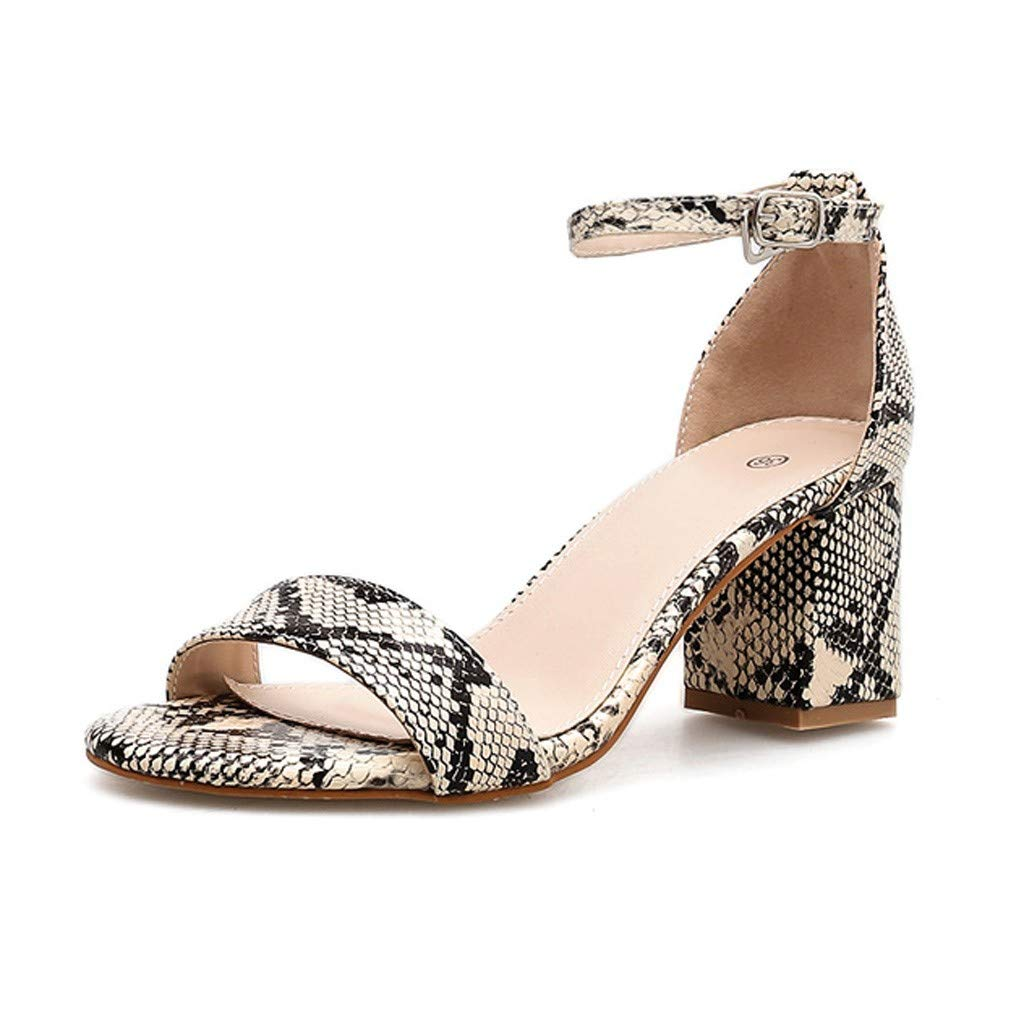 Summer Summer Women Sandals Snake Print Ankle One Word Buckle Sandals Shoes by LUXISDE (Image #5)