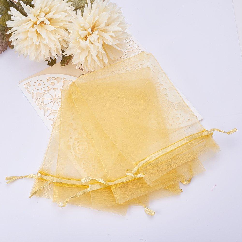 Oro Rettangolo PandaHall 100PCS Sacchetti Regalo Organza Pacchetti Saccgetti Portaconfetti per Gioielli Perline 15cm di Lunghezza Circa 10cm di Larghezza