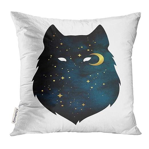 Almohada de Tiro Silueta de Lobo con Luna Creciente y Estrellas ...