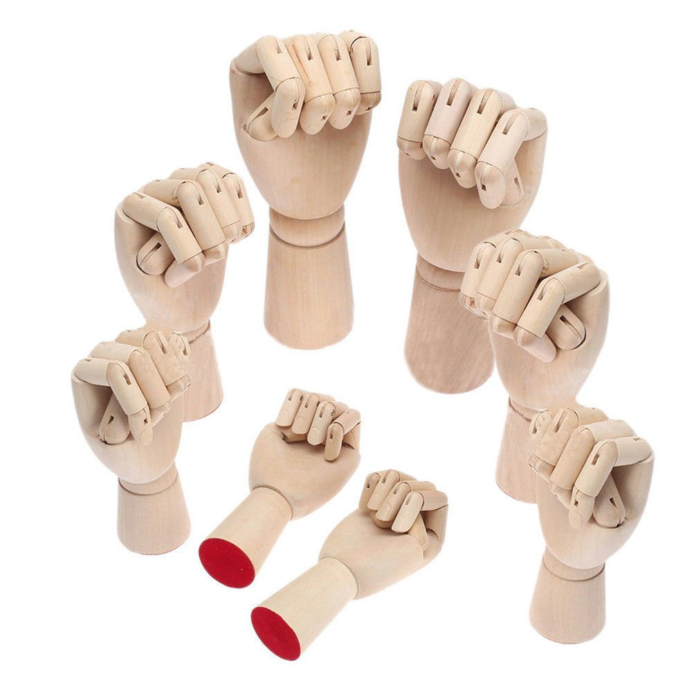 Right Hand/Left Hand Body Artist Model Jointed Articulated Wood Sculpture Mannequin Wooden with Wooden Flexible Fingers (Right Hand, 12 Inch)