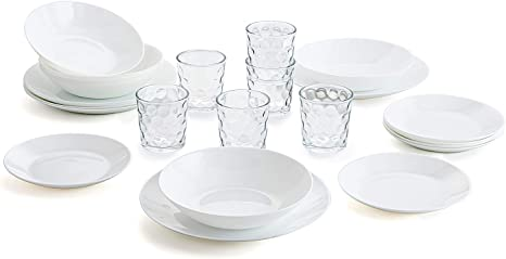 18 Besteck-Set 24 Amefa, Opalglas, 19 Teile Arcopal Wei/ßes Geschirrset f/ür 6 Personen