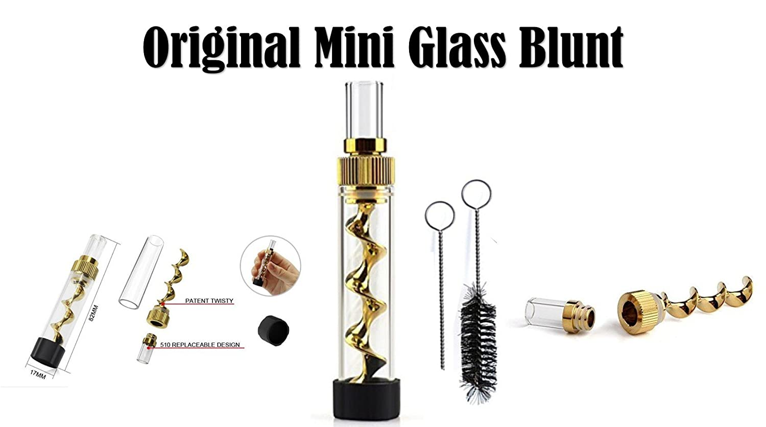 Glass Blunt Mini Glass Pipe, 3x More Compact Than it's Big Brother Glass Blunt Smoking Pipe 1 Twisty Glass Blunt Holds Up To 1 Gram of Pure Herb - 1 x Mini Glass Blunt, 1x Rubber Cap, 1x Cleaning Brush, 1x Cleaning Tool, Copper NOT Zinc Alloy, Does not re