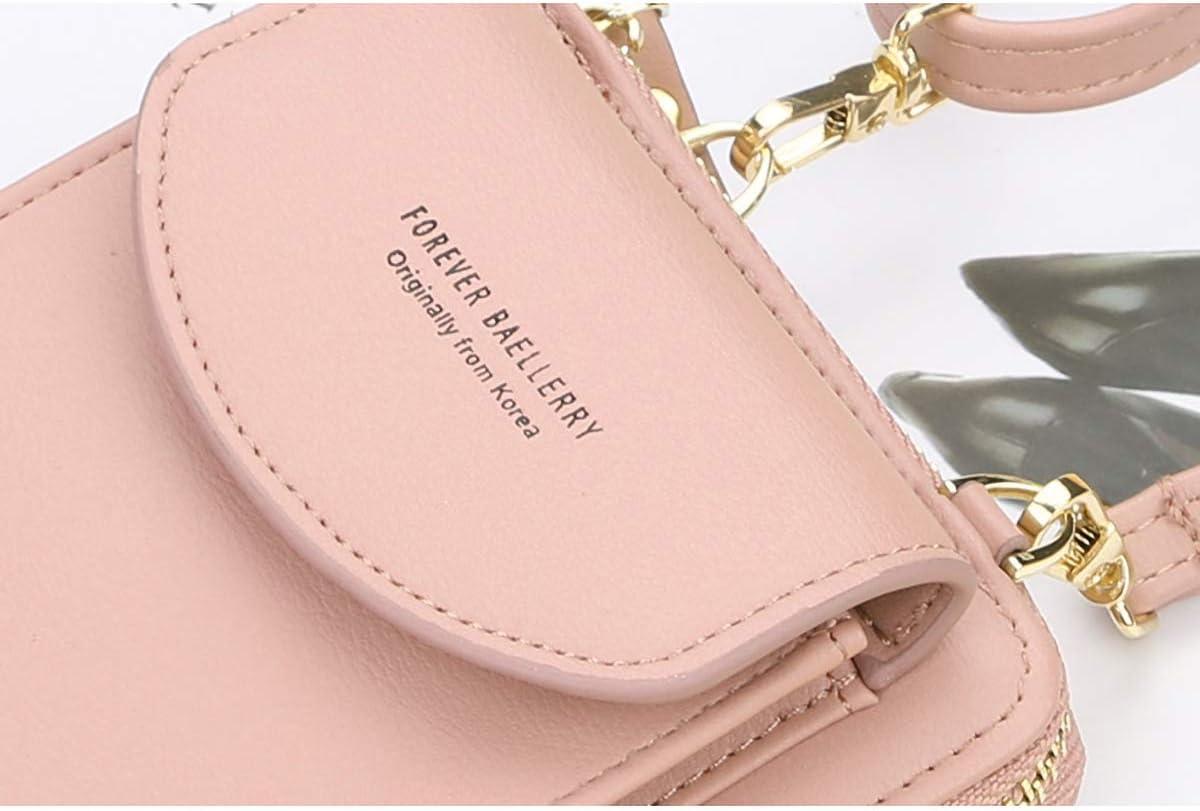 ZhengYue kleine Crossbody Tasche Handy Tasche Brieftasche mit Credit Card Slots f/ür Frauen A-Dark Pink