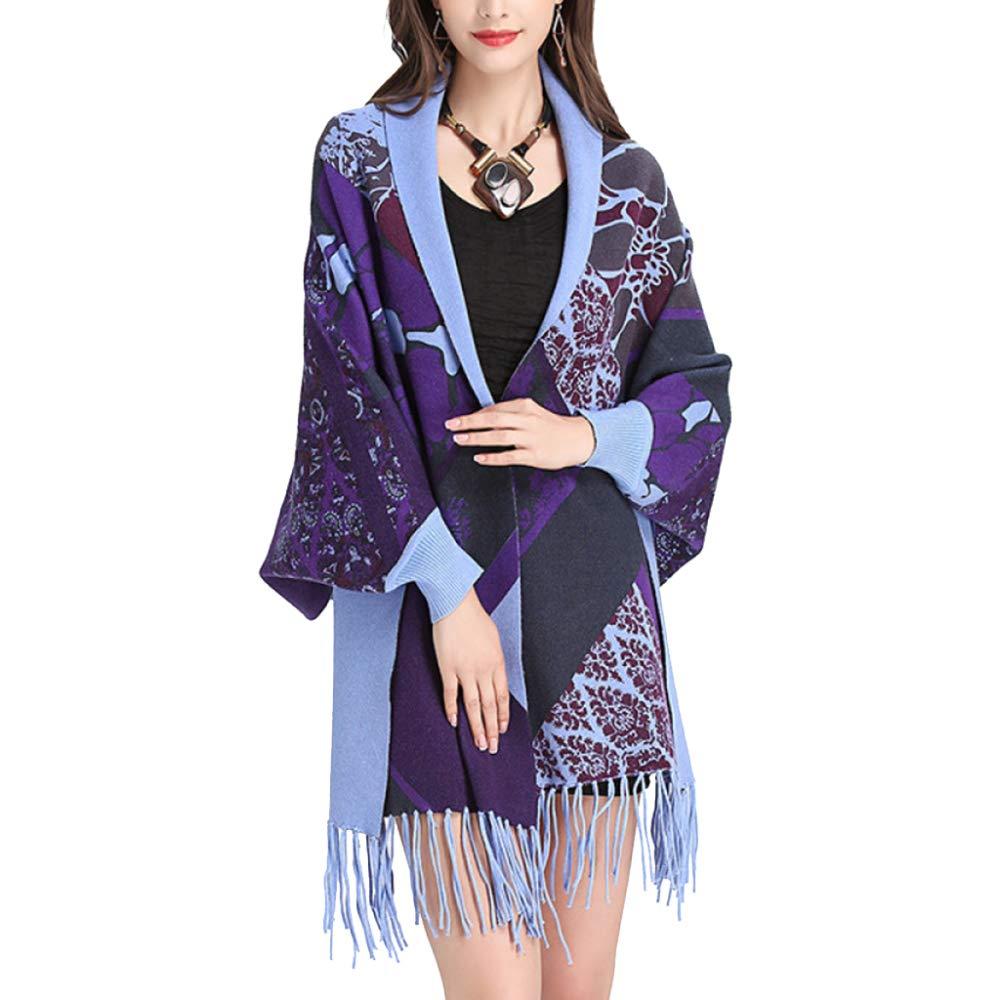 Purple LIULIFE Tassel Cape Poncho Bat Sleeve Shawl Knit Cardigan Cloak Coat Women's Multifunction Scarf