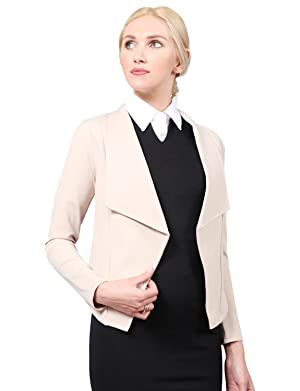 NE PEOPLE WOMEN'S Draped Collar Long Sleeve Office Blazer