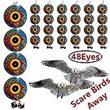 Bird Repellent Discs – Scare Birds Away 48pcs Bird Scarer Eyes Double Sided