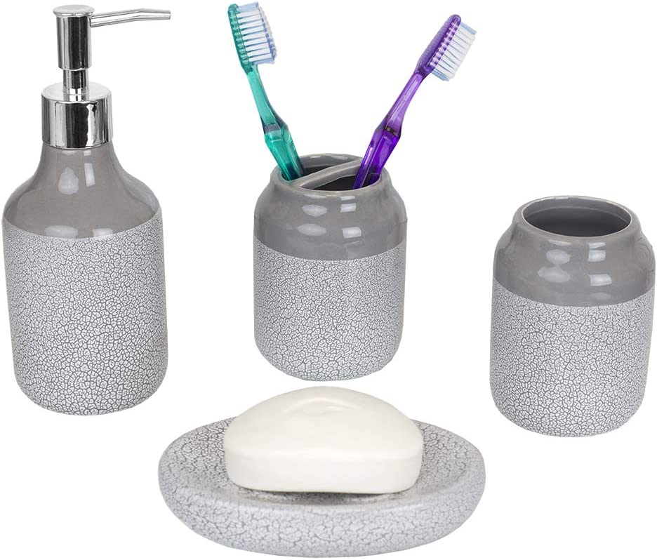 Home Basics Crackle 4 Piece Ceramic Bath Accessory Set-Includes Lotion Dispenser, Toothbrush Holder, Soap Dish, Tumbler, Grey