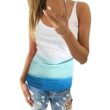 1d6039f8af24d Longra Damen T-Shirt Frauen Tank Top mit Gradient Farbe Weste Top Casual  Sommer Oberteile Trägertop Elegant Ärmellos Bluse Damenmode Oversize  Sommertop ...