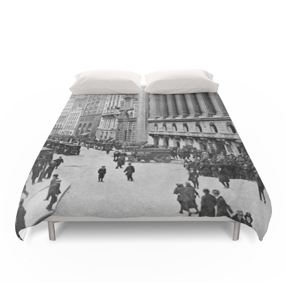 Society6 Vintage Wall Street NYC Photograph (1921) Duvet Covers Full: 79'' x 79''