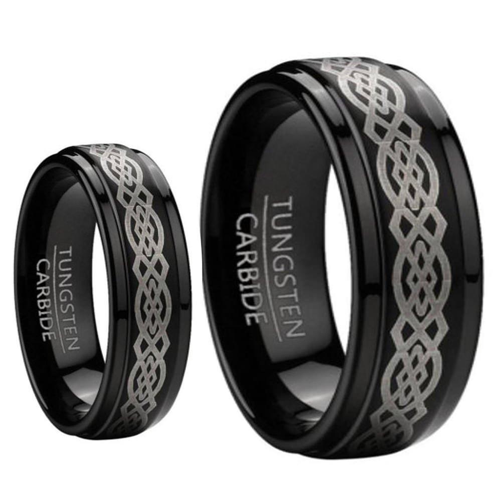 9MM/7MM Mens and Ladies Step Edge Black Enamel Celtic Knot design Center Tungsten Carbide Wedding Band Ring Set