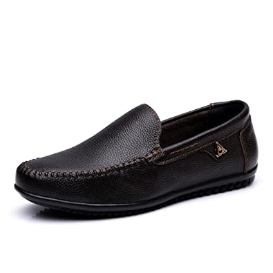 Men's Loafers Casual Slip Ons Driving Office Work School Shoes Flats First Layer Chocolate US8.5