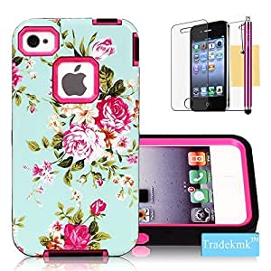 iPhone 4S Case, iPhone 4 Case, Tradekmk(TM) Brand New Fashion Glossy In-Mold Decoration(IMD) TPU Gel Hybrid Bumper Durable Hard Back Case Cover[Elegant Orchid Green Shell] Compatible with Apple iPhone 4/4S[+Stylus+Screen Protector+Cleaning Cloth]-(Rose Red)