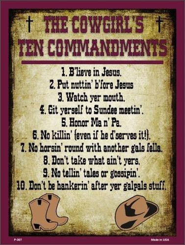 The Cowgirls Ten Commandments (Vertical) Vanity Metal Novelty Parking -