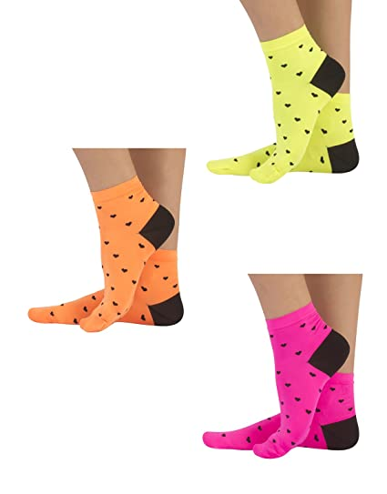 PACK 2 OR 3 PAIRS – CALCETINES TOBILLEROS DE COLORES FLUOR A RAYAS | CALCETINES DE