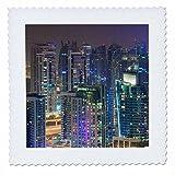 3dRose Danita Delimont - Cities - UAE, Nighttime view of Dubai Marina - 25x25 inch quilt square (qs_277090_10)