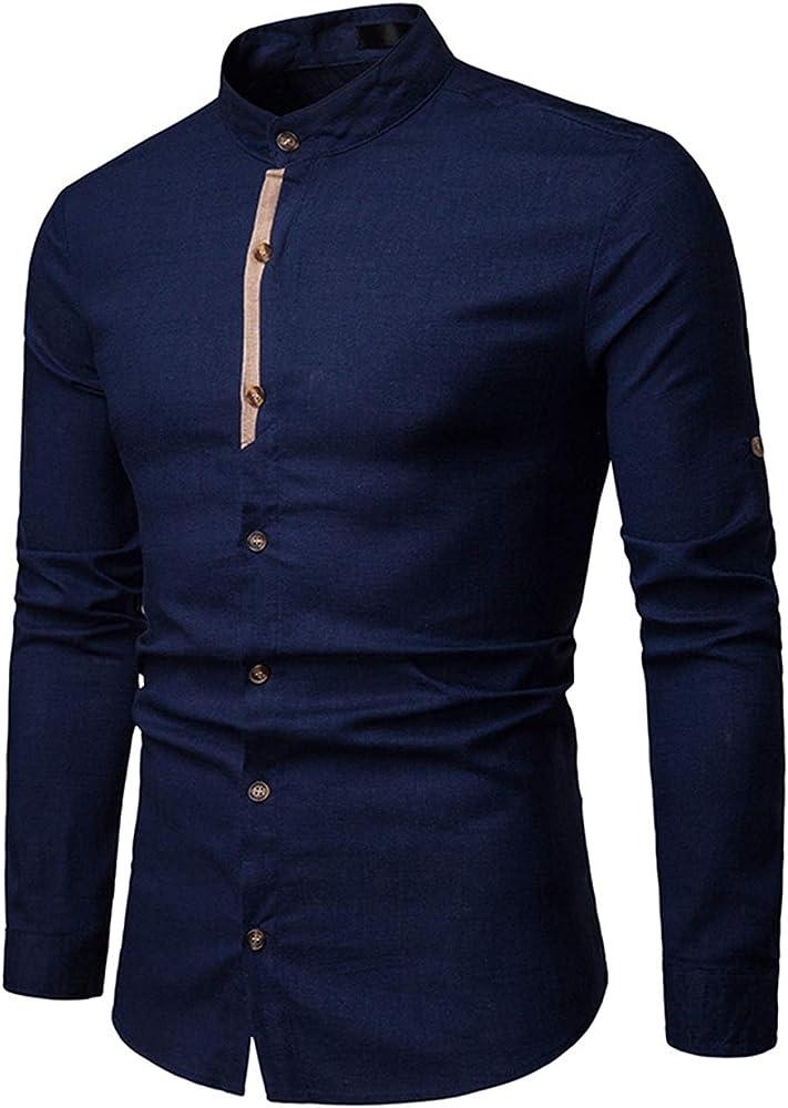JOLIME Camisa Hombre Lino con Cuello Mao Manga Larga Casual Formal Trabajo Blusas Transpirable Azul Marino S: Amazon.es: Ropa y accesorios