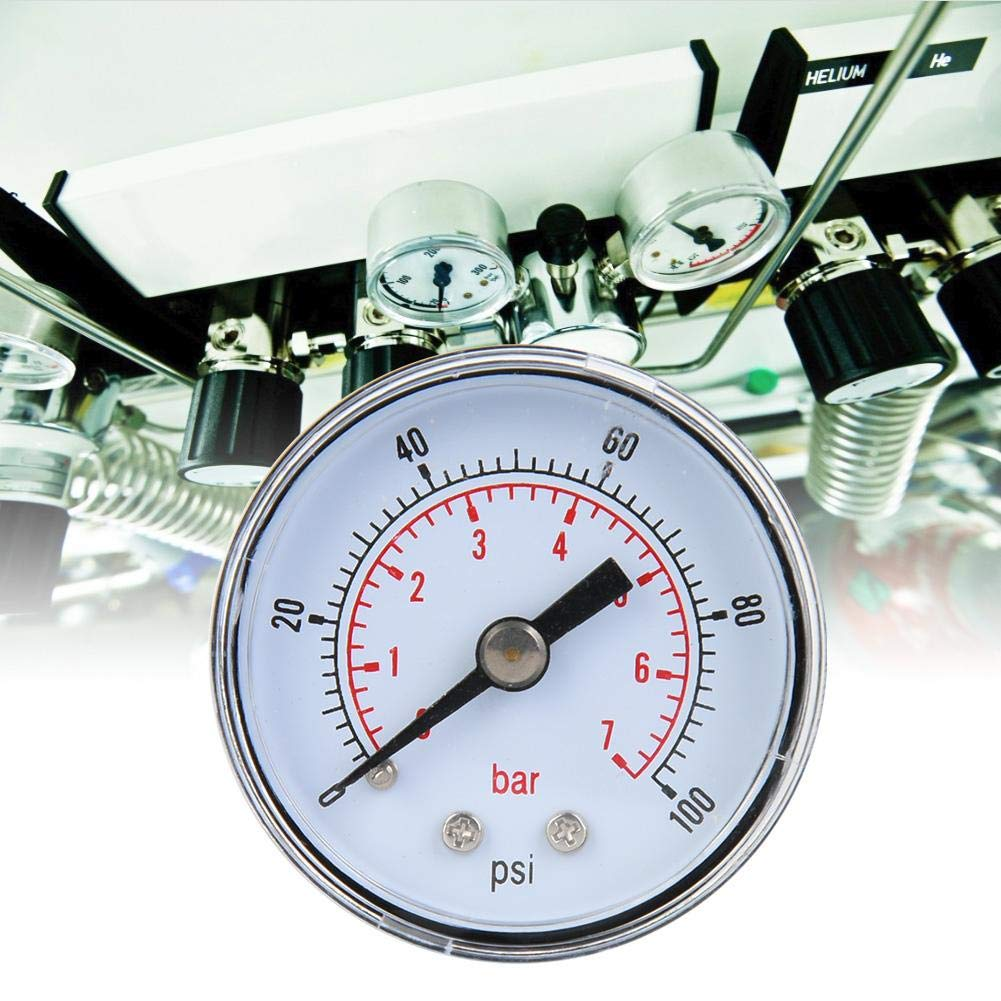 1//8 Zoll BSPT Axialmanometer f/ür Luft /Öl und Wasser Mechanisches Manometer 0-100psi,0-7bar