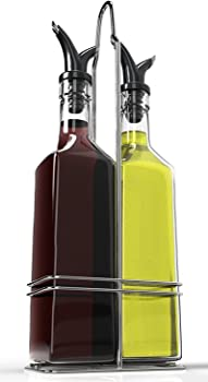 Royal Oil and Vinegar Bottle Set w/Stainless Steel Rack and Cork
