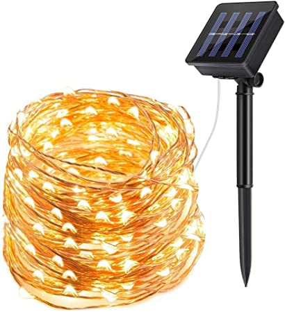 Smart 39ft LED String Lights Rope Solar Operated Waterproof Fairy Light DIY