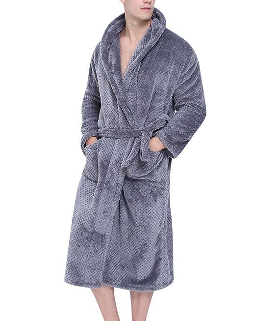 Mujer Hombre Pijamas de Kimono Albornoz Largo Microfibra Pareja Túnica Bata Ropa: Amazon.es: Ropa y accesorios