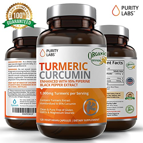 PurityLabs Organic Turmeric Curcumin Supplement – 1100mg, 120 Capsules, with Black Pepper Piperine and 95% Curcuminoids, Highest Potency and Best Joint Pain Relief Formula, Non-GMO & Gluten Free