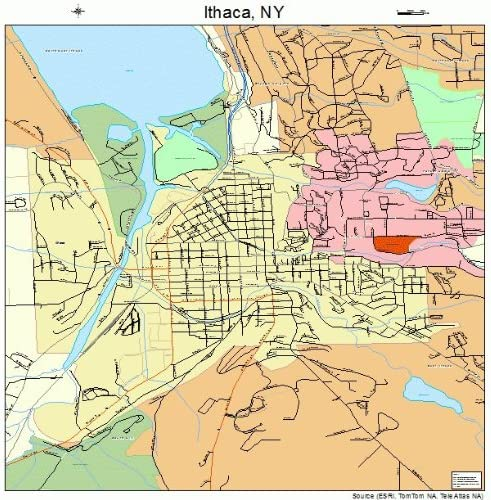 Ithaca New York Map Amazon.com: Large Street & Road Map of Ithaca, New York NY