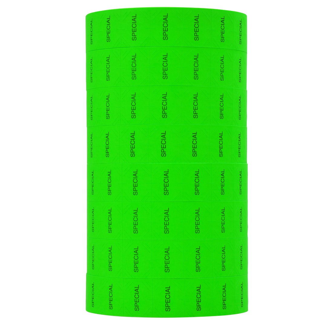Black Print on Fluorescent Green SPECIAL Pricing Labels to fit Monarch 1136 and 1138 Pricers. 8 Rolls with 1 Free Ink Roller.
