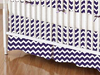 product image for SheetWorld 100% Cotton Percale Crib Skirt 28 x 52, Purple Chevron Zigzag, Made in USA