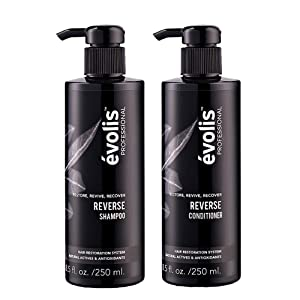 évolis REVERSE Shampoo & Conditioner for Hair Loss - Hair Growth Stimulating & Strengthening - Keratin Complex with Wheat Protein - Natural Hair Growth Treatment (8.5 fl oz Each)