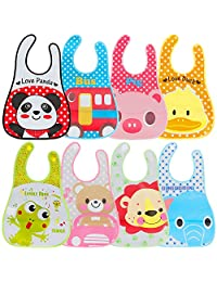 Lictin Baby Bib Set of 8 Waterproof Unisex Baby Bib EVA Baby Bandana Drool Baby Bib Apron Baby Drool Bibs for Infant Toddler 6 months to 6 years old