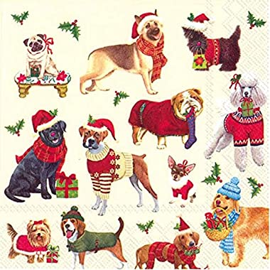 Ideal Home Range 20 Count Cocktail Paper Napkins, Christmas Dogs