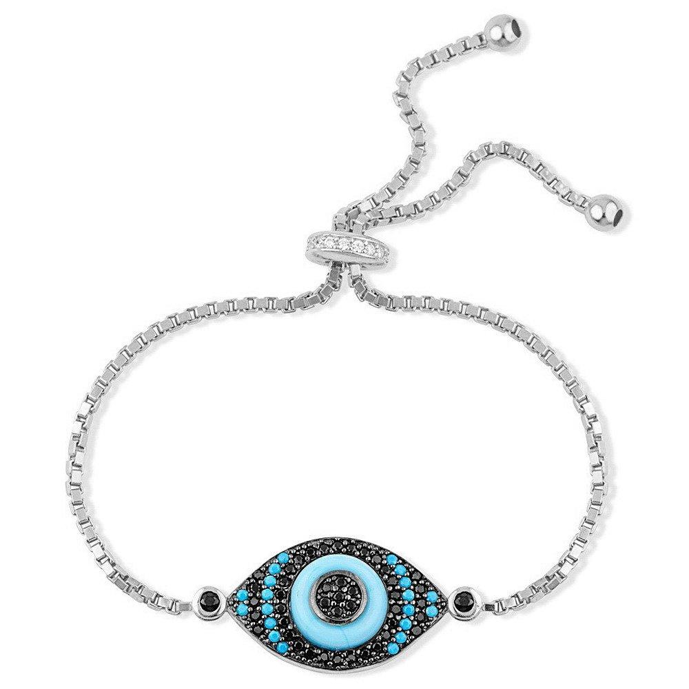 Eyestunnish Marea Blue CZ Evil Eye Women's Expandable Bracelet 925 Sterling Silver (White)