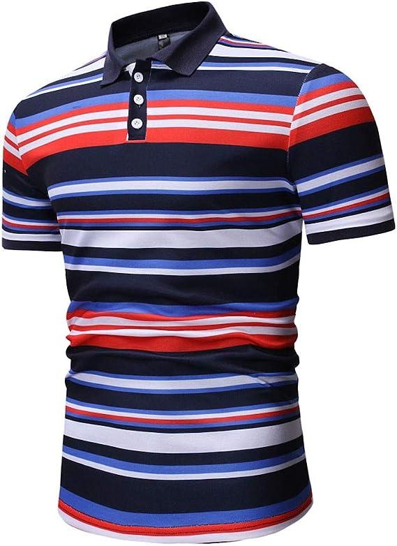 Camisetas Hombre Mangas Corta Polos de Rayas para Hombre POLP ...
