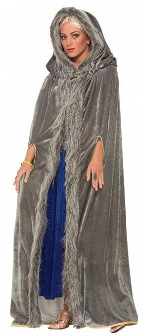 f25f9b2937666 Grauer Mittelalter Samt-Umhang mit Kapuze für Damen-Kostüm GoT WoW LARP  Mantel Cape